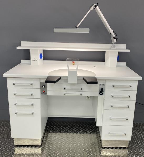 Al-Dental Einzelarbeitsplatz Labortisch Dentalmöbel LED Gelenkleuchte Weiß