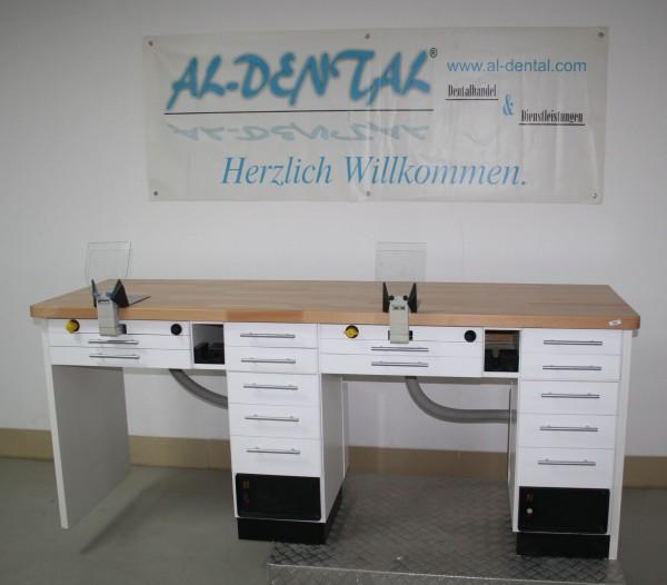 FREUDING Doppelarbeitsplatz 2er Labortisch Dentalmöbel # 6692