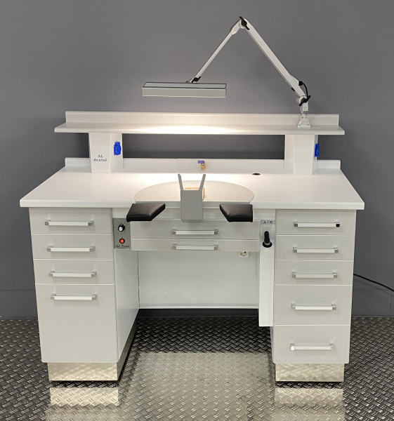 Al-Dental Einzelarbeitsplatz Labortisch Dentalmöbel LED Gelenkleuchte Grau